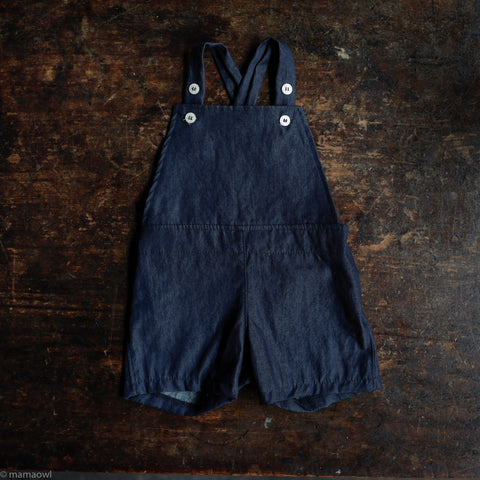 Cotton/linen Frankie Short Overalls - Washed Cotton Denim