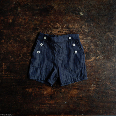 Cotton Remy Sailor Shorts - Washed Cotton Denim