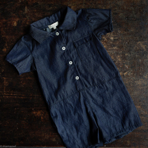 Cotton Wylie Romper - Washed Cotton Denim