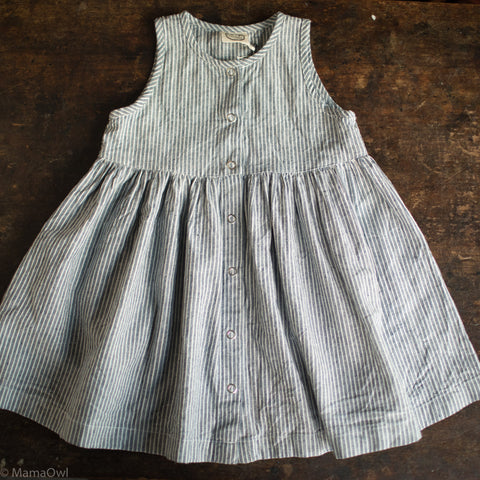 Handmade Linen/Cotton Garden Dress - Stripe