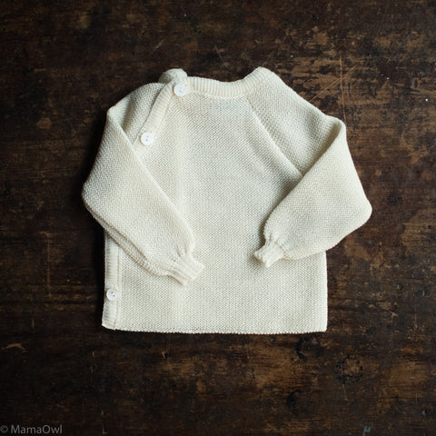 100% Organic Knitted Merino Cardigan - Natural