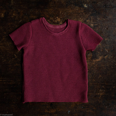 Organic Merino Wool SS Top - Dry Rose