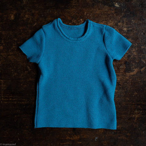 Organic Merino Wool SS Top - Blue Jay