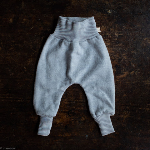 Organic Light Weight Boiled Merino Wool Cuffed Pants - Light grey