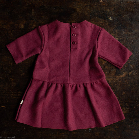 Organic Boiled Merino Wool Dress - Dry Rose