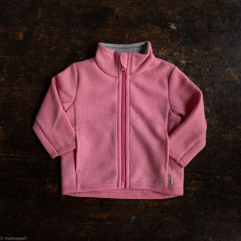 Organic Light Weight Boiled Merino Wool Zip Jacket - Raspberry
