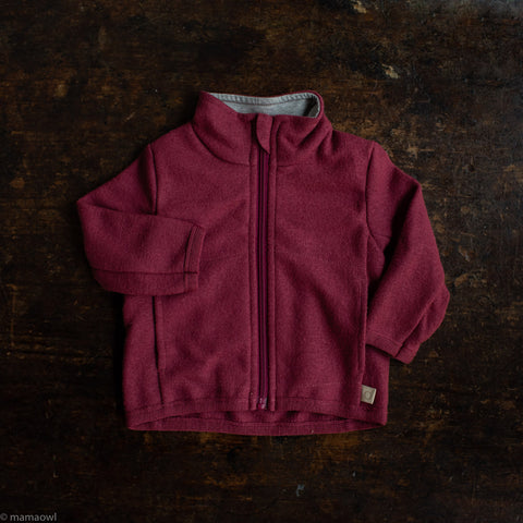 Organic Light Weight Boiled Merino Wool Zip Jacket - Dry Rose