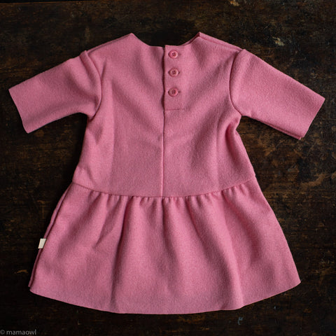 Organic Boiled Merino Wool Dress - Raspberry