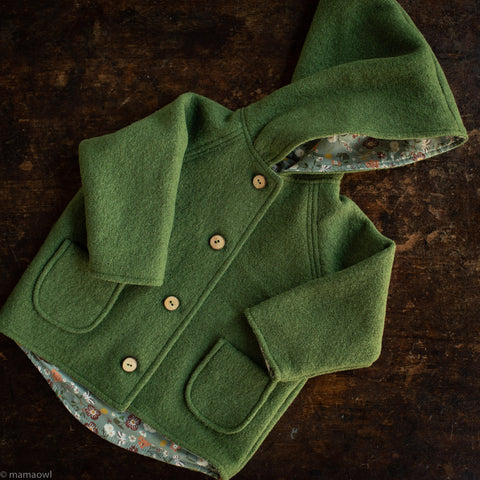 Exclusive Wool Pixie Hooded Coat With Cotton Print Lining - Moss Green