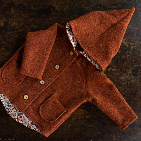Exclusive Wool Pixie Hooded Coat With Cotton Print Lining - Autumn Leaf