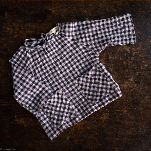 Cotton Gemma Blouse - Aubergine Crinkle Gingham