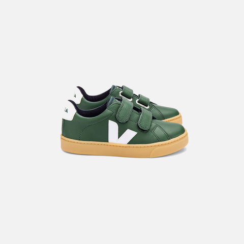 Leather Esplar Velcro Trainer - Cyprus/White