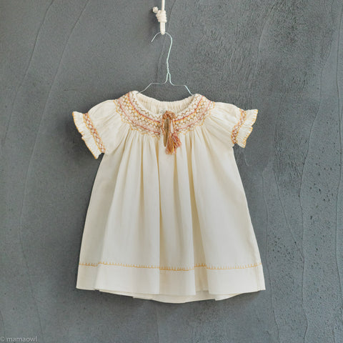 Cotton Verna Smock Dress - Ivory