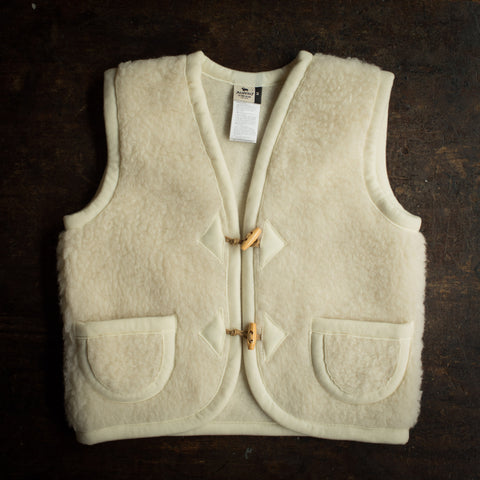 Organic Merino Wool Teddy Fleece Vest - Natural