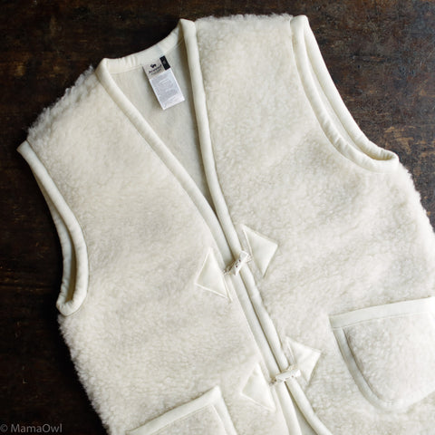 Women's Organic Merino Wool Teddy Fleece Alpine Vest - Natural
