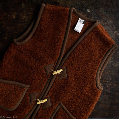 Women's Organic Merino Wool Teddy Fleece Alpine Vest - Cognac