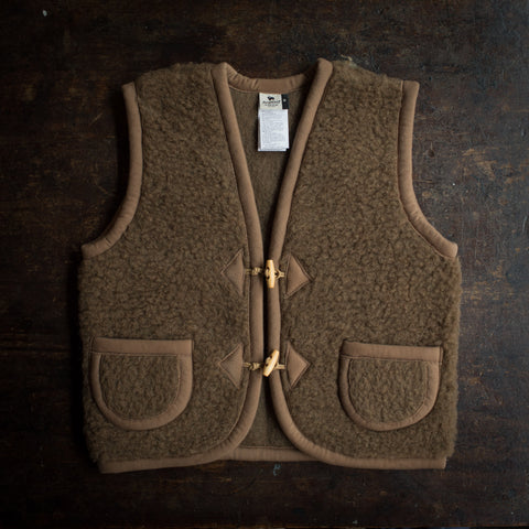 Organic Merino Wool Teddy Fleece Vest - Bark