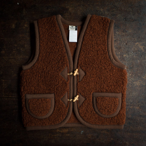 Organic Merino Wool Teddy Fleece Vest - Cognac