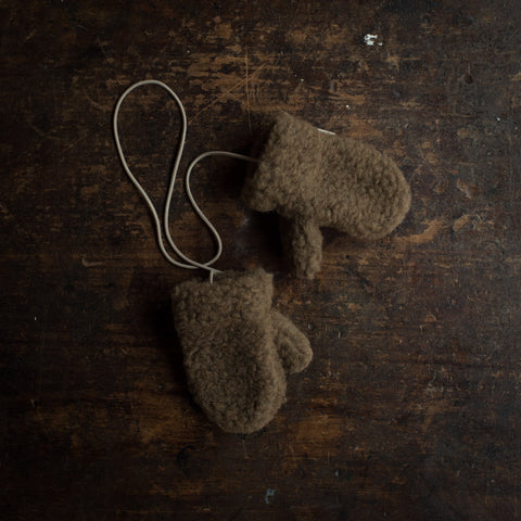 Organic Merino Wool Teddy Fleece Mittens - Bark