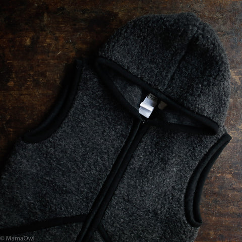 Women's Organic Merino Wool Teddy Fleece Hooded Everest Zip Vest - Anthracite