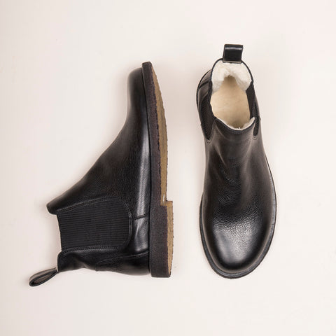 Women's Wool Lined Chelsea Boot - Black - 37 (UK 4.5) - 41 (UK 8.5)