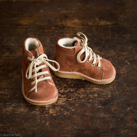Wool Lined Toddler Boots - Cognac Suede - 20 (UK 4) - 25 (UK 8)