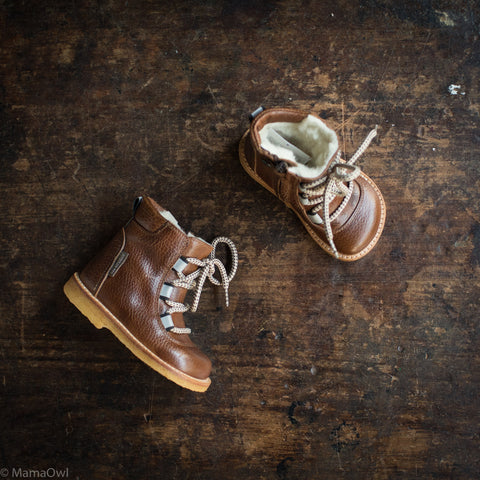 Wool Lined Waterproof Lace-Up Boot w/Zip - Cognac