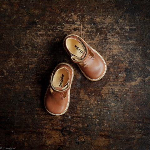 T-Bar Scallop Toddler Shoes - Tan