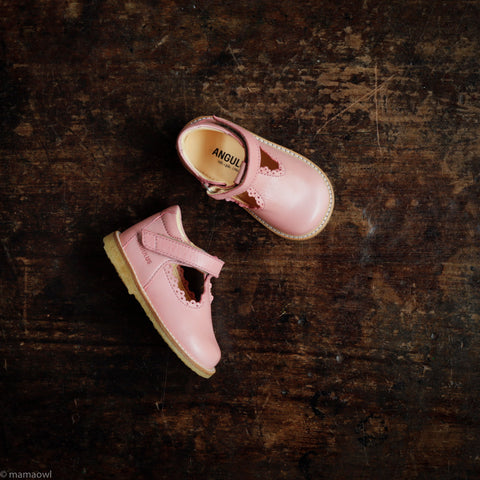 T-Bar Scallop Toddler Shoes - Rose