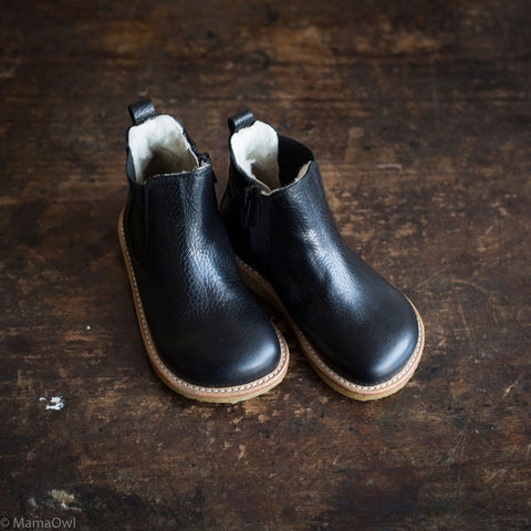 Wool Lined Leather Chelsea Boots w/ Zip - Black - 24(UK 7)-35 (UK1)
