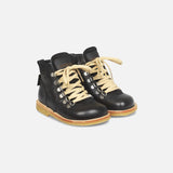 Wool Lined Waterproof Lace Boot w/ Zip - Black