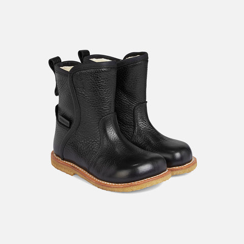 Wool Lined Waterproof Tall Boot w/Zip - Black