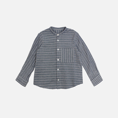 Cotton Collarless Shirt - Navy Stripes
