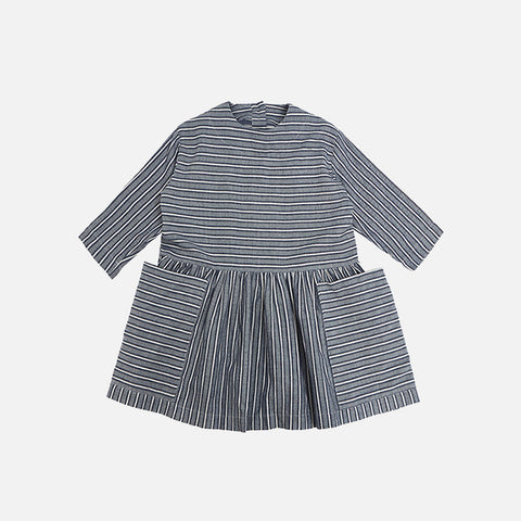Cotton Pocket Dress - Navy Stripes