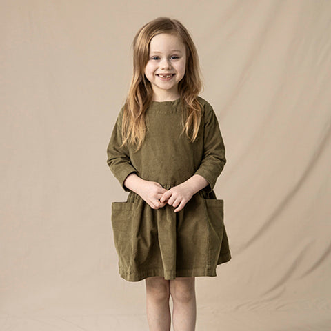 Cotton Corduroy Pocket Dress - Olive