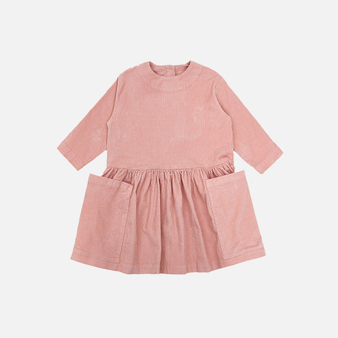 Cotton Corduroy Pocket Dress - Pink