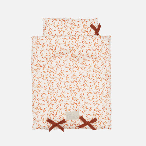 Organic Cotton Doll/Teddy Bedding - Caramel Leaves