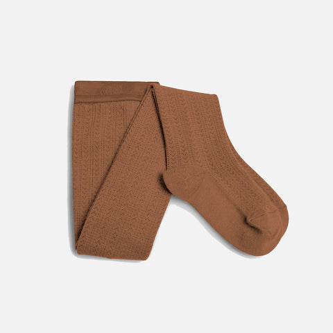 Wool Pointelle Tights - Caramel