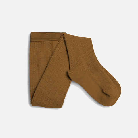 Wool Pointelle Tights - Mustard