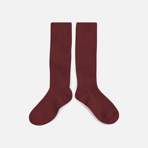 Adult's Cotton Knee Socks - Chestnut