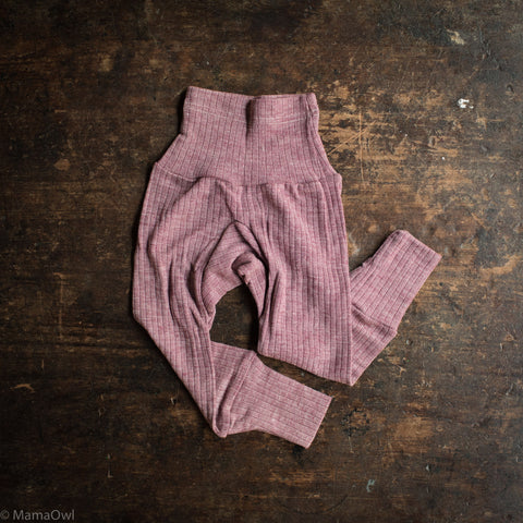 Organic Merino Wool / Cotton / Silk Baby Pants - Plum