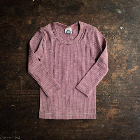 Organic Merino Wool / Cotton / Silk LS Top - Plum