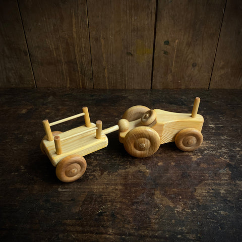 Wooden Small Tractor With Trailer