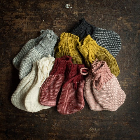 Organic Merino Knitted Baby Mittens - Many Colours
