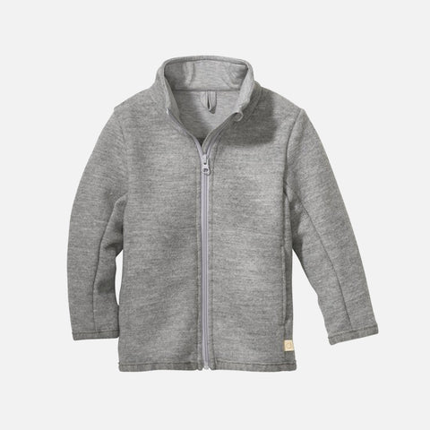 Organic Light Weight Boiled Merino Wool Zip Jacket - Light Grey