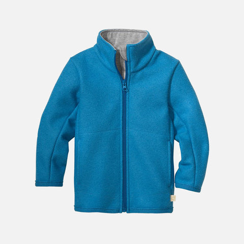 Organic Light Weight Boiled Merino Wool Zip Jacket - Blue Jay