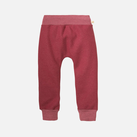 Organic Light Weight Boiled Merino Wool Cuffed Pants - Dry Rose