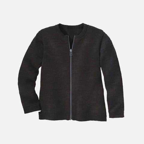 Organic Merino Wool Zip Cardigan - Anthracite