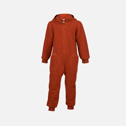 Organic Boiled Wool Zip Suit - Magma