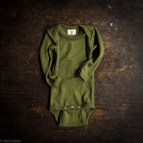 Exclusive Organic Silk & Merino Baby Body - Moss